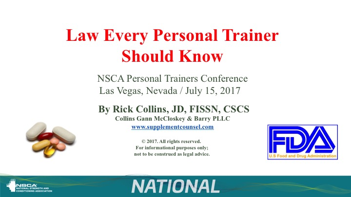 Rick Collins to Lecture at Annual Conference Of the National Strength and Conditioning Association (NSCA)